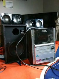 gray and black Panasonic home theater system