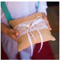 Burlap Ring Bearer Pillow 6 x 6 inches Lace Bow Wedding Ring Cushion