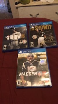 Madden 18 Goat edition- $15, The show 17-$15, The show 18 -$20 PS4 games 2214 mi