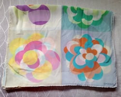 Authentic Chanel Floral Pastel Camellia Multicolour Silk Scarf.