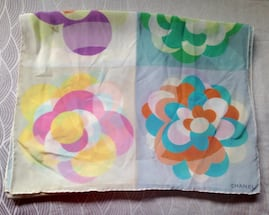Authentic Chanel Floral Pastel Silk Rectangular Scarf.
