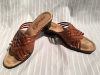 pair of brown leather heeled sandals