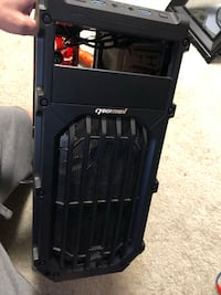 CYBERTRONPC COMPUTER DESKTOP CASE WITH 2 RED LIGHT FANS - CASE ONLY