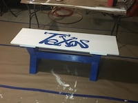 blue and white texas text wooden bench any 2 colors can be done.  Rockwall, 75087