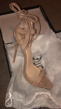 Taupe lace up sandal heels  Calgary, T3J 5C1