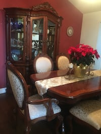 Dining Room Table with 8 Chairs and Matching Cabinet