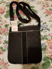 black and gray Coach monogrammed crossbody bag