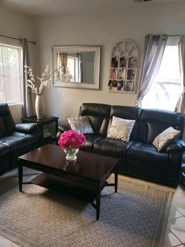 black leather living room set