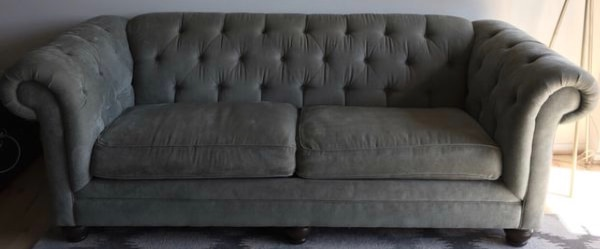 Neiman Marcus Seafoam over size green tuffed sofa 0