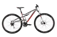 Gray, red, and black full-suspension bicycle Belmont, 02478