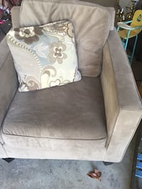 brown suede sofa chair with throw pillow Indianapolis, 46241