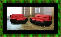 Red/black sofa and loveseat 2pc set Forestville