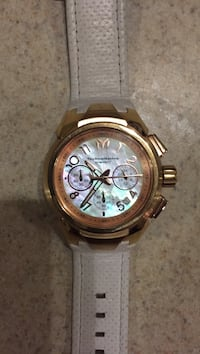 Round gold chronograph watch with link bracelet Livingston, 70754
