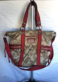 Coach red leather canvas tote bag Poway, 92064