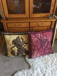 """2 ACCENT PILLOWS FROM BALI (Is For Both Pillows) - 26""""x26"""" 1470 mi"""