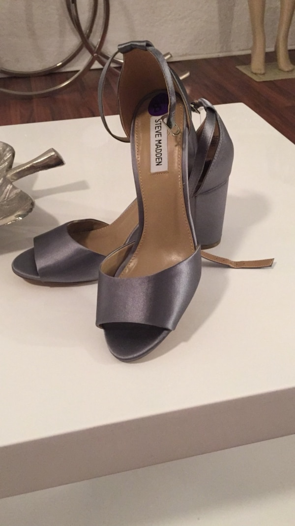 cc25825f24f Gray-and-brown Steve Madden leather peep-toe ankle-strap chunky heels
