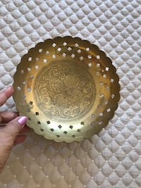 "Brass bowl from India. Engraved and perforated traditional design. 8.5"" wide Potomac, 20854"