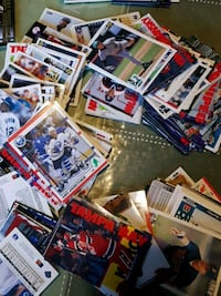 assorted trading card collection with box