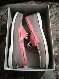 gray suede boat shoes with box