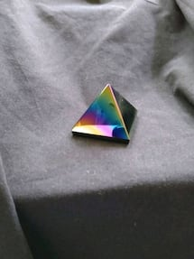 Rainbow Aura of Titanium Coating Obsidian Pyramid