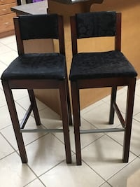 Two black wooden bar stools Toronto, M6H 0E4
