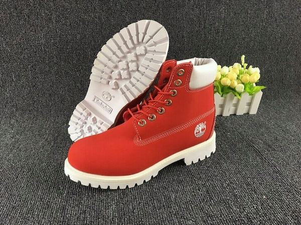 newest c3333 a5af1 Used pair of red-and-white Timberland work boots for sale in Red Oak - letgo