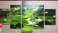 body of water with green grass field 5-panel painting Lethbridge, T1H 5G4