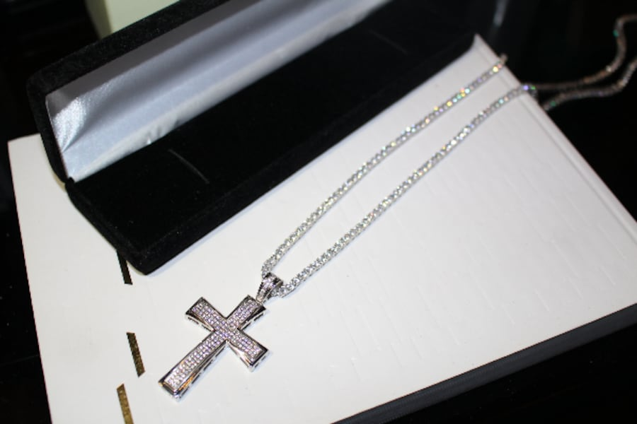 3MM SOLID 925 SILVER ICED OUT FLOODED LAB SIMULATED DIAMONDS 60CT TENNIS CHAIN NECKLACE W/ ICED OUT CROSS 20CT PENDANT 9d4880fa-f7ea-4a46-bbfc-74bb8947aa52