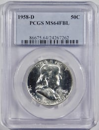 1958-D 50C Franklin Half Dollar PCGS MS-64 Full Be Fort Lee, 07024