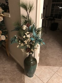 Large Teal vase with Festive Holiday Arrangement $38 or BO Parker, 80138