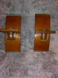 2 - Wooden Candle holders, (Wall).