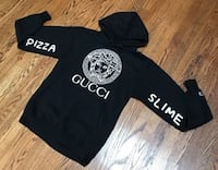 NEW!! Pizza Slime Versace Gucci Louis Vuitton Chanel Black Hoodie Size M Moss, 1513
