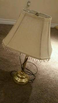 gray metal base with white lampshade table lamp