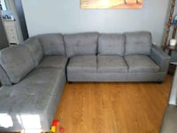 gray suede sectional sofa with throw pillows Catlett, 20119