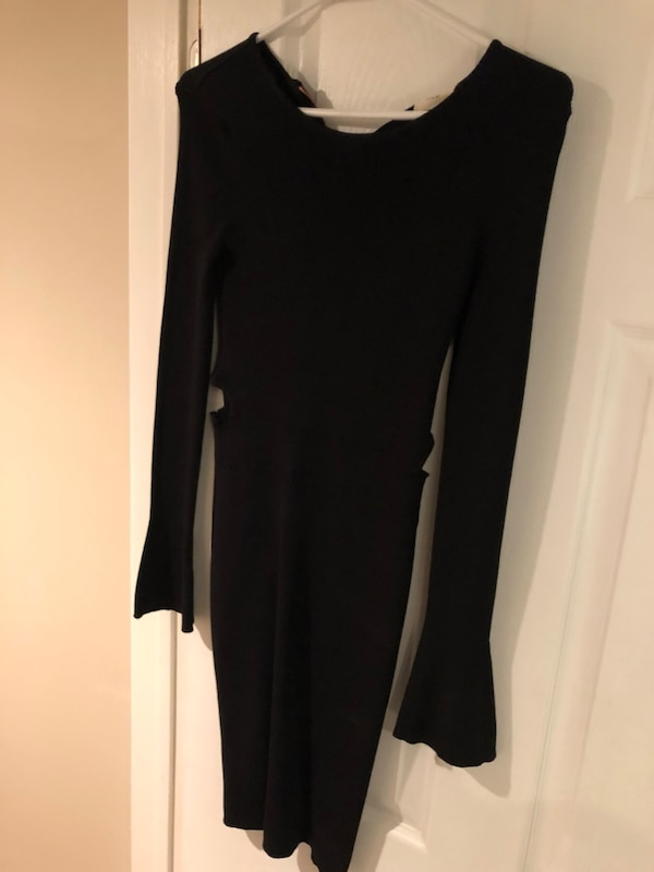 NEW Black Long Sleeved Dress with side cut outs