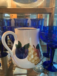 Blue glassware with water pitcher