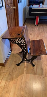 Brown wooden table with black metal base Shavertown, 18708
