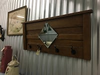 Wood Wall Coat Hanger with Mirror Jacksonville