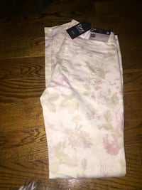 white, pink and gray floral pants