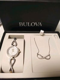 Women's Bulova watch and necklace set- brand new!