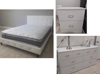 New queen bed frame with crystals. One nightstand. Dresser. Delivery  Miami, 33155