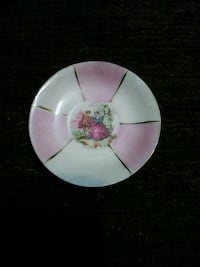 white and pink floral ceramic plate Dallas, 75227