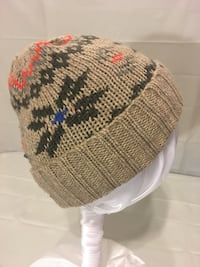 Old Navy brown knit hat orange/blue accent