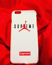 White, red, and black air jordan x supreme iPhone 6 Plus case