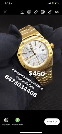Audemars Piguet gold analog watch with gold link automatic watch