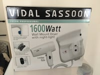 Vidal sassoon 1600 watt wall mount hair dryer with night light Rockville, 20852