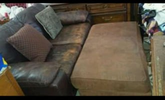 Leather loveseat and double ottoman