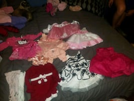 Lot of 3-6 month girl dresses, coats and jackets.