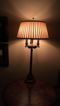 """Antique brass lamp beige lampshade..size 34""""high"""