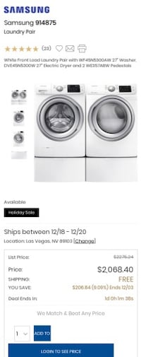 New Samsung steam front load washer and dryer Las Vegas, 89121